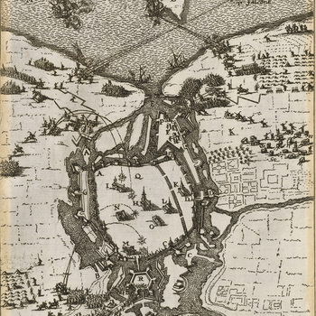 A map of the siege of Wismar, 13-23 December 1675, by Christian V, King of Denmark (1646-99) resulting in the surrender of the town. Scanian or Swedish-Brandenburg War (1675-9). Oriented with north to top (cardinal points).   The Danish army, with their a