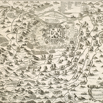 A map of the siege of Vienna, 14 July-12 September 1683, by the Ottoman army, commanded by Grand Vizir Merzifonlu Kara Mustafa Pasha (1634/5-1683) which culminated in a victory for the Holy League (Poland, Holy Roman Empire), commanded by Jan III Sobieski