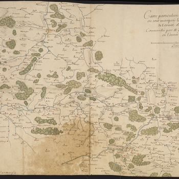 A map of the locations of the encampments of the French army, commanded by Louis de Crevant, duc d'Humières (1628-94), Marshal of France, in Hainaut in 1689. Nine Years War (1688-97). Oriented with north to top (cardinal points).   The campsites, shown