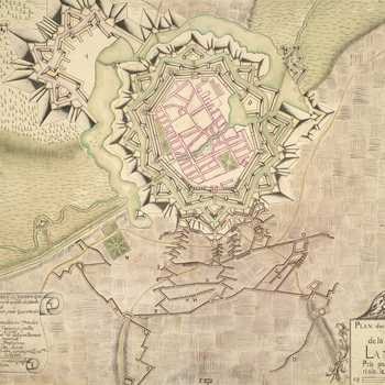A plan of the fortifications of Landau showing the siegeworks and breaches made by the Allied army, commanded by Prince Eugene of Savoy (1663-1736), between 9 September and 26 November 1704, when the French garrisons, commanded by Lieutenant-General Yriei