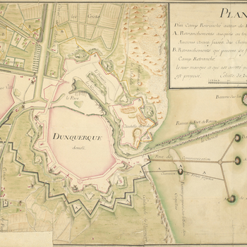 A map of the fortifications of Dunkirk showing the extent of the demolished town and citadel, and the outlines of the demolished walls in 1743. <em>War of the Austrian Succession (1740-48)</em>. Oriented with west to top. <br>  <br>The yellow lines, runni