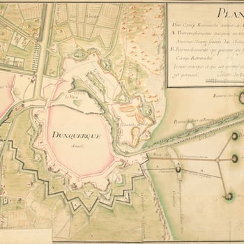 A map of the fortifications of Dunkirk showing the extent of the demolished town and citadel, and the outlines of the demolished walls in 1743. War of the Austrian Succession (1740-48). Oriented with west to top.   The yellow lines, running from the Canal