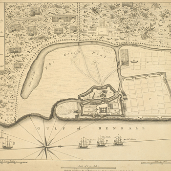 A map of Fort St George, Madras (India) on the Gulf of Bengal, taken by the French, showing fort, walls and fortifications, plans of nearby houses, camps, and French ships in bay. War of the Austrian Successsion (1740-48). Oriented with west to top (compa