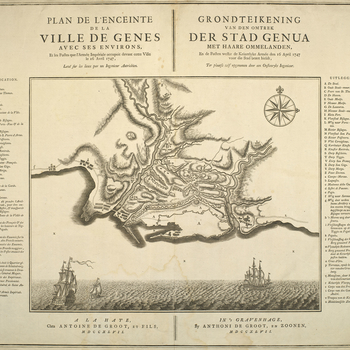 A map of the Austrian siege of Genoa, April-June 1747. War of the Austrian Succession (1740-48). Oriented with north to top (compass rose).  A view of three ships, presumably sailing on the Ligurian Sea, is engraved below the map. The map shows in outline