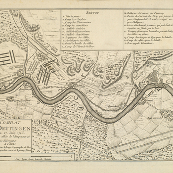 A map of the camps and movements of the British and French armies before, during and after the Battle of Dettingen, 17-27 June 1743. War of the Austrian Succession (1740-48). Oriented with south-west to top.  The map covers the banks of the Main from Seli