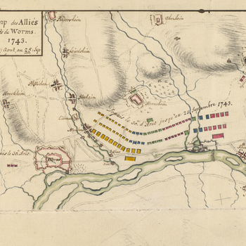 A map of the Allied encampment on the west bank of the Rhine, 30 August to 25 September 1743. War of the Austrian Succession (1740-48). Oriented with west to top. The attribution to Schultz is made on stylistic grounds and by reference to the old catalogu
