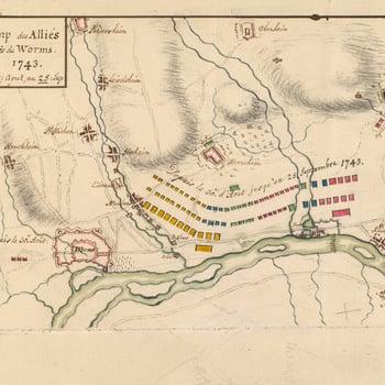 Map of encampment near Worms, 1743 (Worms, Rhineland-Palatinate, Germany) 49?38'08