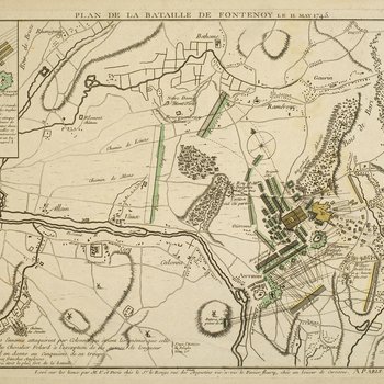 A map of the Battle of Fontenoy, 11 May 1745, fought between the French, commanded by Louis XV (1710-74) and Marshal Maurice of Saxony (1696-1750), and the Allied army, commanded by William Augustus, Duke of Cumberland (1721-65), resulting in a French vic