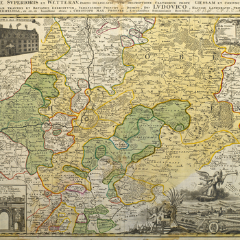 A map of Hesse showing the march routes of the Austrian army and campsites in 1745. War of the Austrian Succession (1740-48). Oriented with north to top.  In June 1745, the Empress Maria Theresa ordered Traun out of Bavaria to join forces with Batthyany o