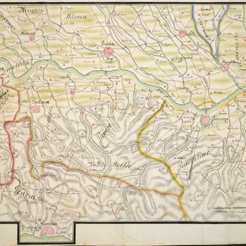 A map of Piacenza with the positions of the French and Spanish armies and Austrian and Sardinian armies in May 1746. War of the Austrian Succession (1740-48). Oriented with north to top. The Battle of Piacenza took place on 16 June 1746 between the French