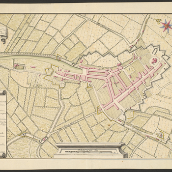 A map of the fortified lines at Oudenbosch, 21 September 1747. War of the Austrian Succession (1740-48). Oriented with north-east to top (compass rose).  It is possible that further explanatory material is missing: there is no key to the numbers 1-19 whic