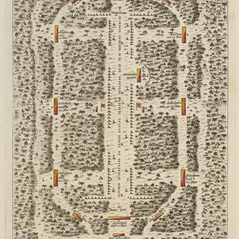 A plan of the encampment of the detachment at Little Meadows, 1755. French and Indian War (1754-63). No orientation.  Little Meadows, Maryland (39°41'57