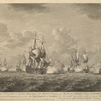 A view of the Suffolk, Houghton, and Godolphin in action with two French ships of war off the Cape of Good Hope on 9 March 1757. Seven Years War (1756-63).  This engagement between the Hon. East India Company's ships Suffolk, Houghton and Godolphin result