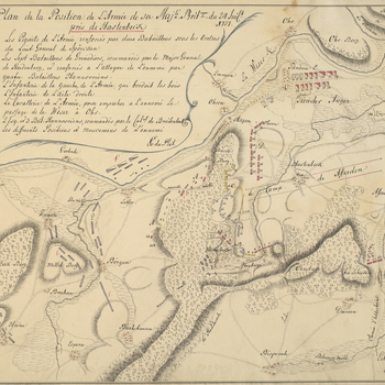 A map of the positions and movements of the Army of Observation (George II's German troops) and those of the French, at Hastenbeck, 24 July 1757. Seven Years War (1756-63) Oriented with west to top.  Additional text: [below title, in cartouche, a key, A-G