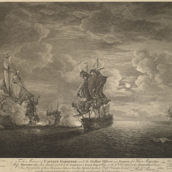 A view of the Battle of Cartagena, 28 February 1758. Seven Years War (1756-63).  The naval Battle of Cartagena was fought on 28 February 1758 between a British fleet, under the command of Admiral Henry Osborn (bap.1694-1771) and a French fleet commanded b