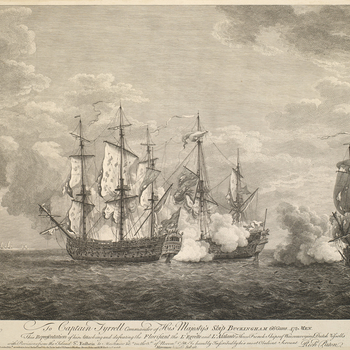 A view of HMS Buckingham attacking the French ships Florisant, L'Egrette and L'Atalante, 3 November 1758. Seven Years War (1756-63).  Additional text: [left of title:] NB the Buckingham was so / disabled in her Mast Rigging &ca as to be / incapable of