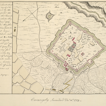 A plan of Carangoly Fort and the British attack, 8-10 December 1759. Seven Years War (1756-63). Oriented with south-east to top (cardinal points).  The attribution to Pleydell is made on stylistic grounds. This is one of fourteen manuscript plans in the c
