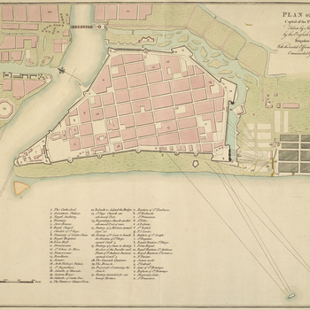 A plan of the Battle of Manila, 6 October 1762. Seven Years War (1756-63): Anglo-Spanish War (1761-63). Oriented with north-east to top. This plan is similar in virtually all respects to RCIN 733067, and may have been copied from it, or another example of