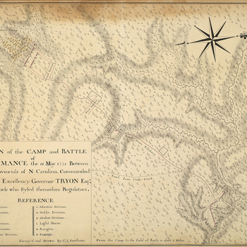 A map of the camp and Battle of Alamance, fought on 16 May 1771 between the government North Carolina Provincial Militia, commanded by Governor William Tryon (1739-88), and the North Carolina Regulators, commanded by Herman Husband (1724-95), resulting in