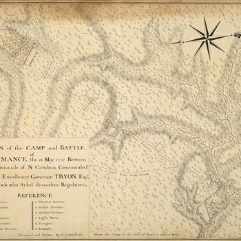 Map of the Battle of Alamance, 1771 (Alamance County, North Carolina, USA) 36?01'30