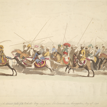 A view of the Advanced Guard of the Mahratta army, coming to join Lord Cornwallis, near Seringapatam, May 28 1791. Third Anglo-Mysore War (1789-92).  Condition: no fold lines; creased; small tear to bottom left edge and to top right edge; surface dirt. Ve