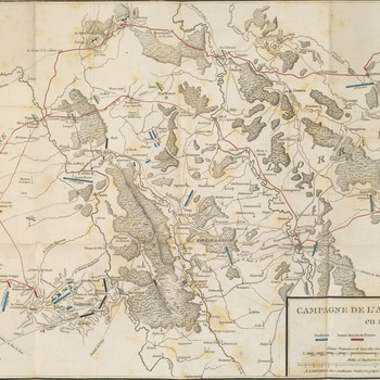 A map of part of northern France showing the operations of the Combined army (Prussia, Austria, Hesse), under the command of Charles William Ferdinand, Duke of Brunswick-Wolfenbüttel (1735-1806), from August to October 1792. French Revolutionary Wars