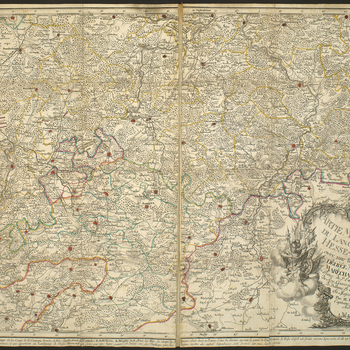 Amap of the Landgraviate of Hesse-Kassel showing the locations of the encampments of the French and Allied armies. Seven Years War (1756-63). Oriented with north to top.   This is the southern sheet of a two-sheet map. The northern continuation is a