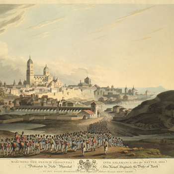 A view of the French army being marched into Salamanca following the battle which was fought on 22 July 1812 between the Allied army, commanded by General Arthur Wellesley (1st Duke of Wellington; 1769-1852), and the French, commanded, first, by General A