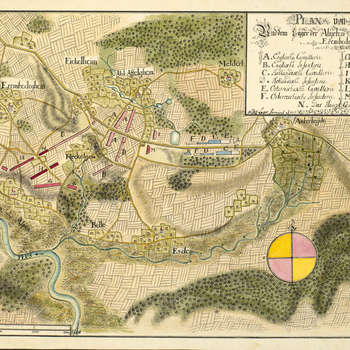 A map of the encampment of the Allied army between Erembodegem and Asse from 19 May to 1 June 1744. War of the Austrian Succession (1740-48). Oriented with north to top (cardinal points).   This is one of a set of six encampment maps of which the first on