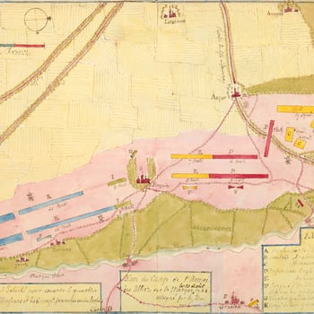 A rough map of the encampment of the Allied army, under the command of Marshals d'Arenberg and Wade, on the west bank of the River Marque at Anstaing near Lille, 10 August 1744. War of the Austrian Succession (1740-48). Oriented with west to top (cardinal