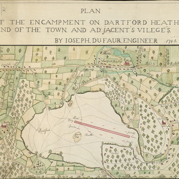 A map of an encampment on Dartford Heath in 1745. War of the Austrian Succession (1740-48). Oriented with north to top.  The camp is represented by a solid elongated red rectangle; the position of the Rear Guards shows that it was facing south-west. No re