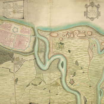 A map of the British camp and attack of Pondicherry, 1748. First Carnatic War (1746-8). Oriented with east to top.   The British combined operations to besiege French-held Pondicherry were commanded by Admiral Boscawen. The siege lasted from 6 September t