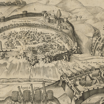 View of the siege of Civitella, 1557 (Civitella del Tronto, Abruzzi, Italy) 42?46?23?N 13?406?35?E