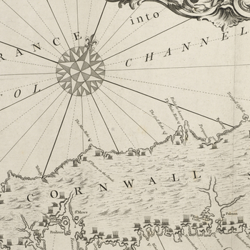 Item: Map of Cornwall and Devonshire, 1588 (United Kingdom, south coast of England) 50?03?00?N 05?44?00?E ? 50?41?00?N 03?15?00?E