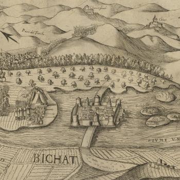 View of the siege of Bihac, 1592 (Bihac, Bosanska Krajina, Bosnia-Herzegovina) 44?49?01?N 15?52?15?E
