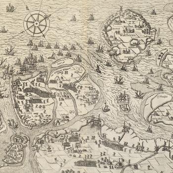 View of Cadzand and Sluis, 1604 (Cadzand [Cadsant], Zeeland, Netherlands 51?22?06?N 03?24?30?E; (Sluis, Zeeland, Netherlands) 51?18?30?N 03?23?10?E