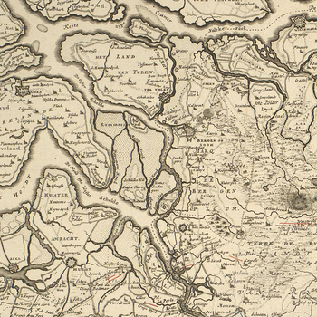 Map of Brabant, 1703 (North Brabant, Netherlands; Flemish Brabant Province, Flanders, Belgium; Walloon Brabant Province, Walloon Region, Belgium)
