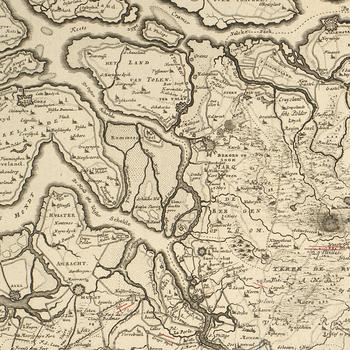 Map of Brabant, 1703 (North Brabant, Netherlands; Flemish Brabant Province, Flanders, Belgium; Walloon Brabant Province, Walloon Region, Belgium)