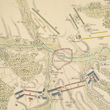 Map of Louvain, Vlierbeek, Bierbeek, Terbank and Bethlem, 1705 (Leuven, Flanders, Belgium) 50?52'46