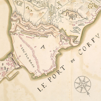 Map of the siege of Corfu, 1716 (Kerkyra, Ionian Islands, Greece) 39?37?12?N 19?55?11?E