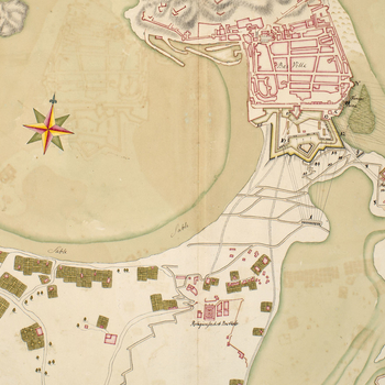 Map of the siege of St Sebastian, 1719 (San Sebastian, Basque Country, Spain) 43?18'46