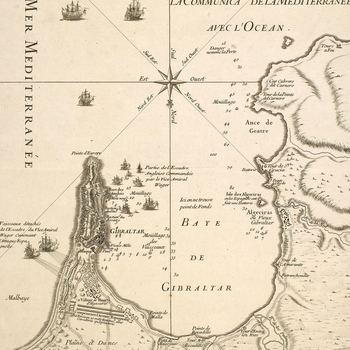 Map of Gibraltar, 1727 (Gibraltar, British Overseas Territory) 36?08'00