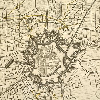 Map of the siege of Furnes, 1744 (Veurne, Flanders, Belgium) 51?04'20