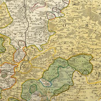 Map of Giessen and Hesse-Darmstadt, 1745 (Giessen, Hesse, Germany) 50?35'00