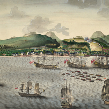 PERSPECTIVE view of ROSEAU in the Island of DOMINIQUE taken upon the 6,th of June 1761 by His Majesty's troops commanded by LORD ROLLO c.1761