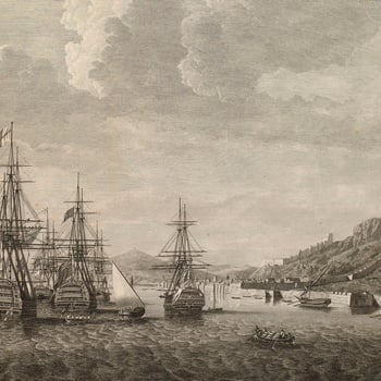 View of Gibraltar, 1780 (Gibraltar, British Overseas Territory) 36?08'00