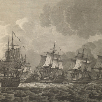 View of the Battle of Dogger Bank, 1781 (Dogger Bank, North Sea, UK) 55?00'00