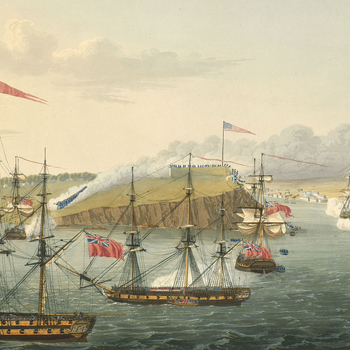 Item: View of the Battle of Fort Oswego, 1814 (Fort Oswego [also known as Fort Chouaguen], New York, USA) 43?27'41'N 76?30'52'W
