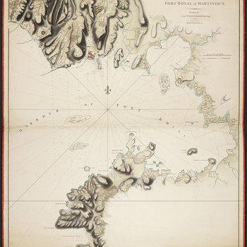 A map of the fort, town, and environs of Fort Royal to illustrate the British siege of January and February 1762. Seven Years War (1756-63). Oriented with north to top (compass rose). The printed journal, referred to in the old catalogue, and on the dummy
