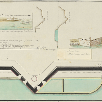 A combination reconnaissance plan and view, together with four other manuscript maps and plans at RCINs 734102.2.a-e, which appear to result from a clandestine intelligence gathering operation on the Walcheren area in December 1784 in advance of proposed